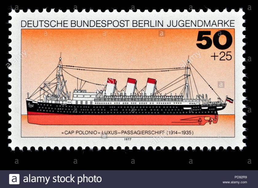sello postal aleman berlin 1977 barco de pasajeros de lujo ss cap polonio 1914 35 pd92r9